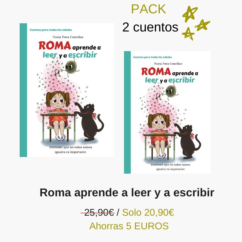 Pack 2 cuentos, Roma aprende a leer y a escribir